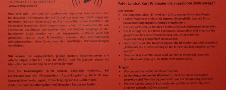 Flugblatt Zivilcouragepreis 2014 der Bürgerinitiative Prozessbeobachter
