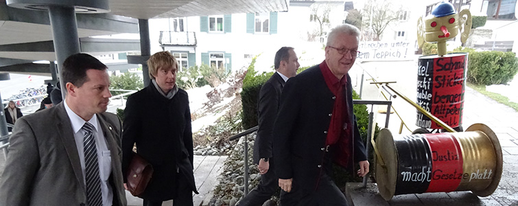 Ministerpräsident Kretschmann Ankommen